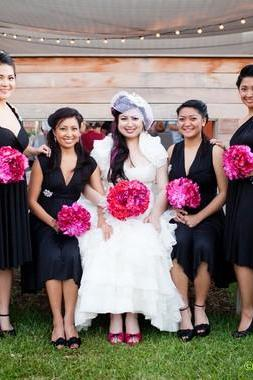 Black Mismatched Convertible Bridesmaid Dress