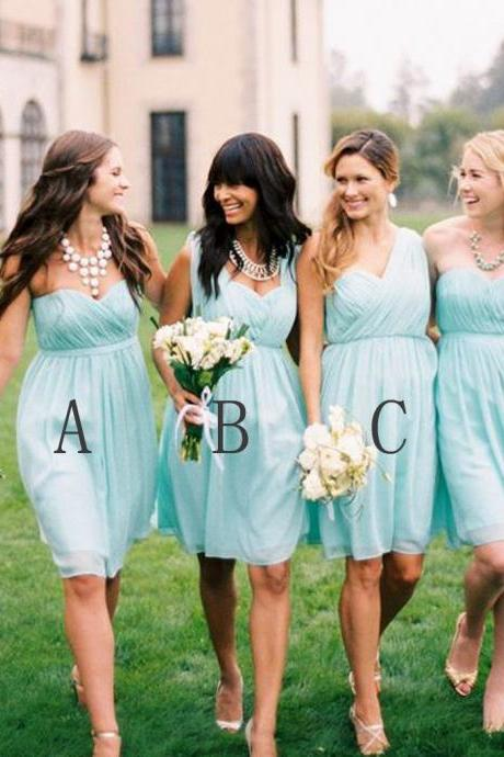 Chiffon Mismatched Simple Styles Junior Knee Length Blue Cheap Short Wedding Party Dresses,