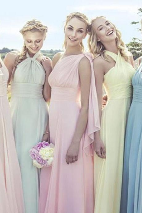 Junior Young Girls Simple Cheap Chiffon Convertible Mismatched Styles  Different Colors Long Formal Bridesmaid Dresses for bb7a383fbac7