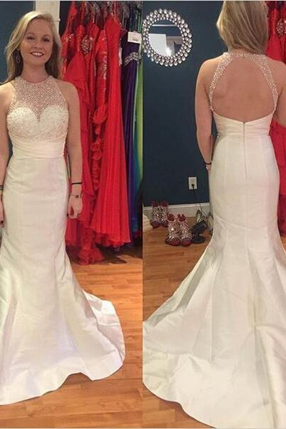 Sexy Prom Dresses,Evening Dresses,New Fashion Prom Gowns,Elegant Prom Dress,Princess Prom Dresses,Chiffon Evening Gowns,White Formal Dress,White Evening Gown