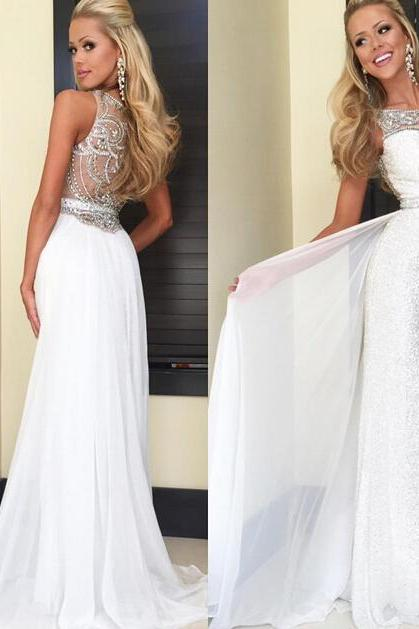 White Prom Dresses,Mermaid Prom Dress,White Prom Gown,Sequin Prom Gowns,Elegant Evening Dress,Modest Evening Gowns,Sexy Party Gowns,Spaghetti Straps Prom Dress