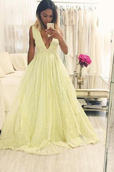 Sweet 16 Dresses Modest Yellow Lace Prom Dresses Long Princess Evening Gowns