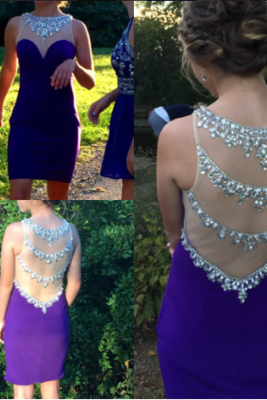 Charming Prom Dress, Beaded Prom Dress,Short Prom Gown,Sexy Evening Dress,Satin Evening Gowns
