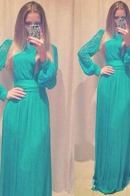 long prom dress, long sleeve prom dress, green prom dress, modest pom dress, lace prom dress, free custom prom dress,