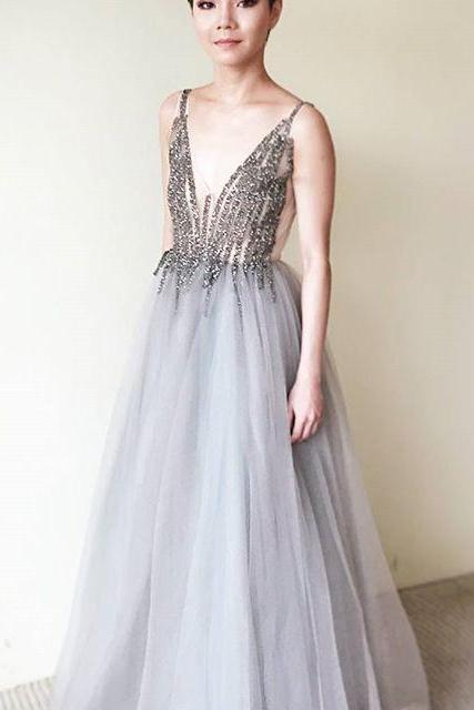 Cheap Prom Dresses 2017 A-Line V-Neck Floor-Length Sleeveless Grey Tulle Prom Dress with Beading