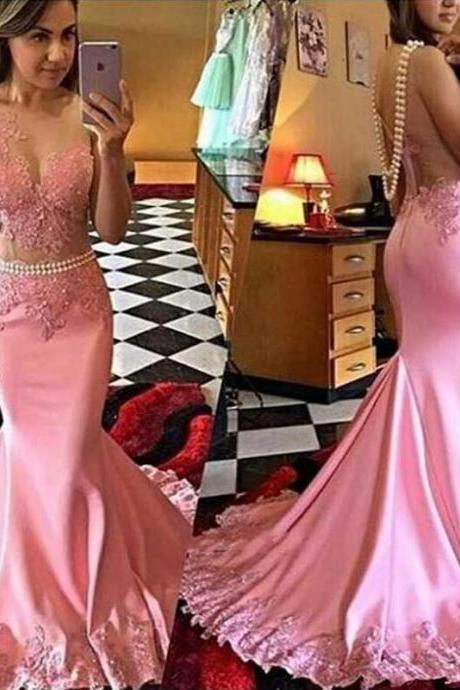 Pink Lace Mermaid Evening Prom Dresses, Long See Through Party Prom Dress, Custom Long Prom Dress, Cheap Party Prom Dress,