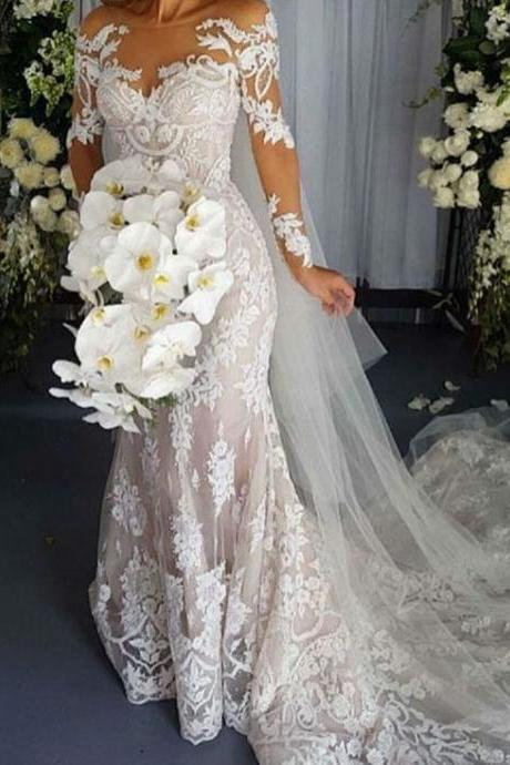 Vintage Mermaid Scoop Long Sleeves Lace Appliques Corset Back Wedding Dress Mermaid Bridal Gowns