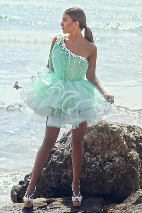 One Shoulder Homecoming Dress,Homecoming Dresses,Chiffon Homecoming Dress,Party Dress,Short Prom Gown,Sweet 16 Dress,Mint Homecoming Gowns