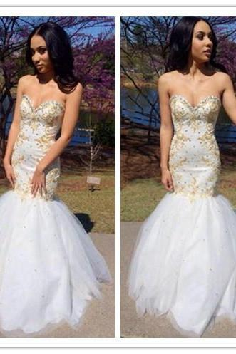 White Prom Dresses,Mermaid Prom Dress,White Prom Gown,Prom Gowns,Elegant Evening Dress,Modest Evening Gowns,Sexy Party Gowns,Spaghetti Straps Prom Dress