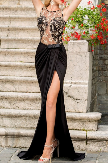 Sexy Prom Dresses,Prom Dress,Chiffon Backless Evening Gown,Long Formal Dress,Backless Prom Gowns,Open Backs Evening Dresses,Black Party Gowns