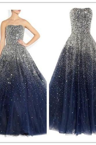 Navy Blue Prom Dresses,Ball Gown Prom Dress,Tulle Prom Dress,Simple Prom Dress,Tulle Prom Dress,Simple Evening Gowns,Cheap Party Dress,Elegant Prom Dresses,2017 Formal Gowns For Teens