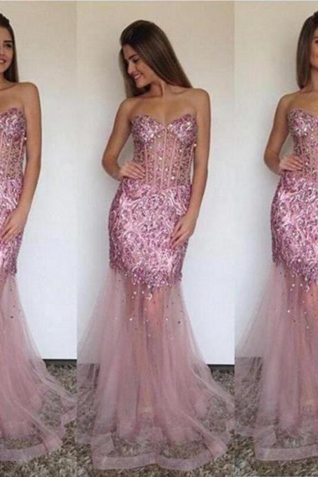 Prom Gown,Pink Prom Dresses,Sparkle Evening Gowns,Mermaid Formal Dresses,Pink Prom Dresses 2017,Tulle Evening Gowns,Backless Prom Gown