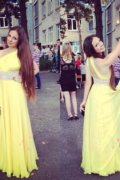 Prom Gown,Yellow Prom Dresses,One Shoulder Evening Gowns,Simple Formal Dresses,Yellow Prom Dresses 2017