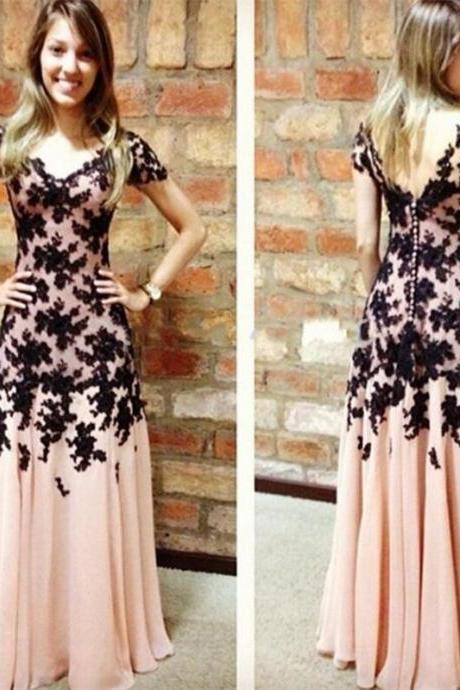Blush Pink Prom Dresses,Vintage Prom Gown,Women Boho Sleeves Plus Size Evening Gowns,V neckline Party Dress,Black Lace Evening Dress