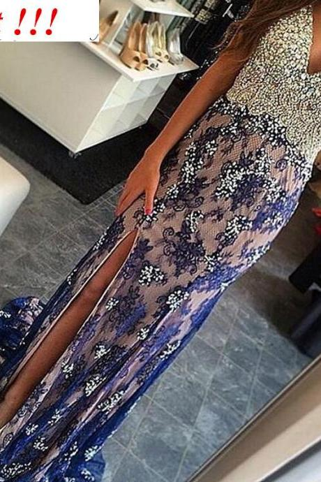 Mermaid Prom Dresses,Navy Blue Lace Prom Dress,Slit Prom dress,Modest Evening Gowns,Cheap Party Dresses,Graduation Gowns,Navy Blue prom Gowns