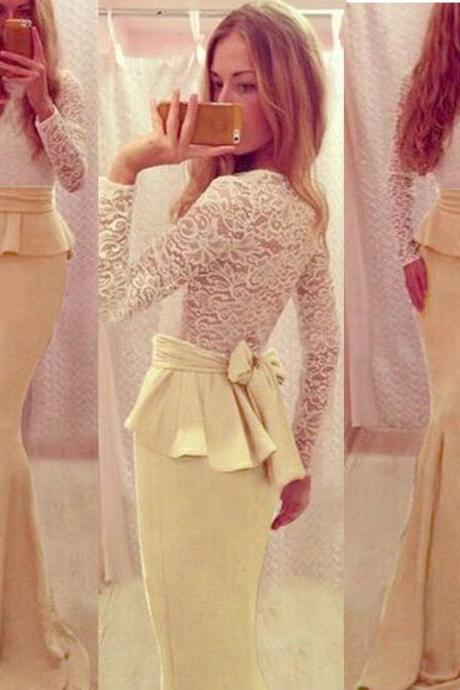 Lovely Long Sleeves Prom Dresses,Daffodil Mermaid Prom Gowns,Classy Simple Cheap Evening Dresses,Sweet 16 Dress