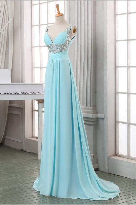 Light Blue Long Classy Chiffon Beaded Lace Up Open Back A-line Prom Dresses,Handmade Cheap Prom Dresses
