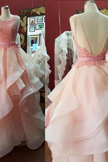 Pretty Pink Ball Gown Prom Dresses,Quinceaners Dresses,Evening Dresses Party Gowns,Charmong Prom Gowns