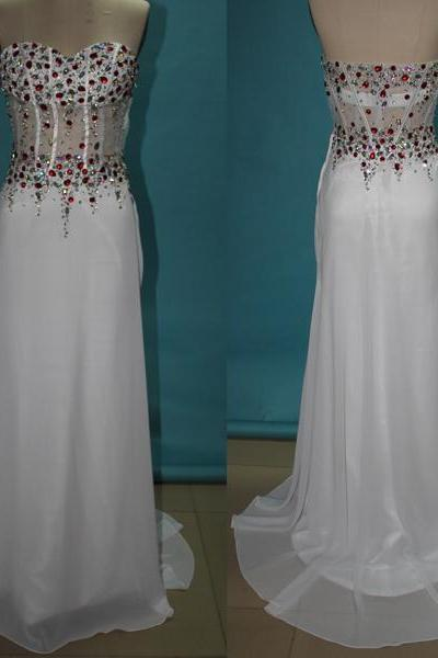 White Long Prom Dresses, Straps Prom Gowns,Beaded Evening Dresses, Backless Evening Gowns, Cocktail Dresses Custom,Dresses for Wedding