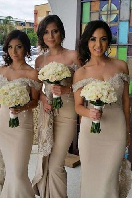 Off Shoulder Chiffon Long Bridesmaid Dresses Lace Train Prom Evening Gowns