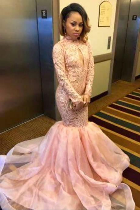 Pink Prom Dress,Long Sleeve Mermaid Evening Dresses,Fashion Prom Dress,Sexy Party Dress,Custom Made Evening Dress