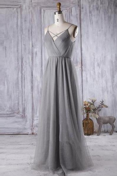 Simple Gray Tulle Bridesmaid Dress,A Line V Neck Prom Dress,Wedding Party Dress