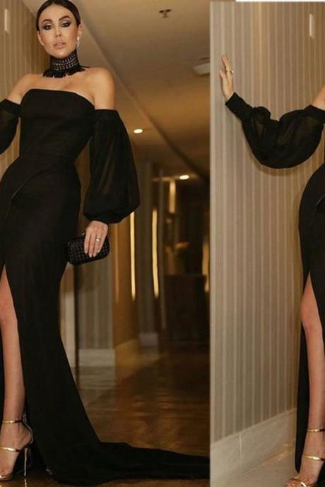 Black Evening Dress, Long Sleeve Evening Dress, Mermaid Evening Dress, Sexy Evening Dress, Unique Evening Dress, Long Evening Dress, Chiffon Evening Dress, Formal Party Dress, Women Evening Dress