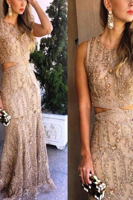 Champagne prom dress, Vintage prom dress, Beading prom dress, Sparkly prom dress, Junior prom dress, Charming prom dress, Evening Party Gowns, Elegant Prom Dresses.