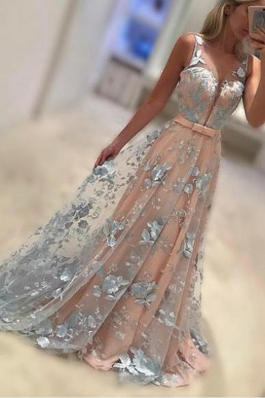 Cheap Prom Dresses 2017 A-Line Bateau Sweep Train Coral Lace Prom /Evening Dress with Bowknot