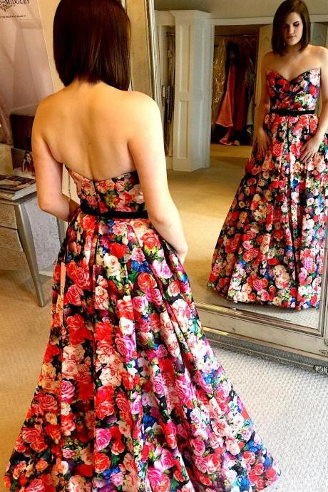 High Quality Sweetheart Floral Long Prom Evening Gowns