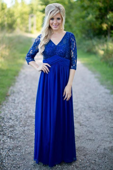 2017 Country Bridesmaid Dresses V Neck Lace Sequins Chiffon Half Sleeves Floor Length Wedding Guest Wear Wpomen Formal Party Dress Gowns