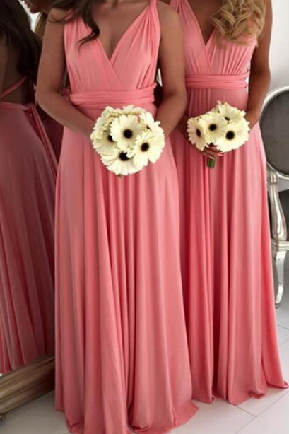 Watermelon Chiffon V-neck Bridesmiad Gowns,Beautiful Simple Bridesmiad Dress,Long Backless Bridesmaid Dresses