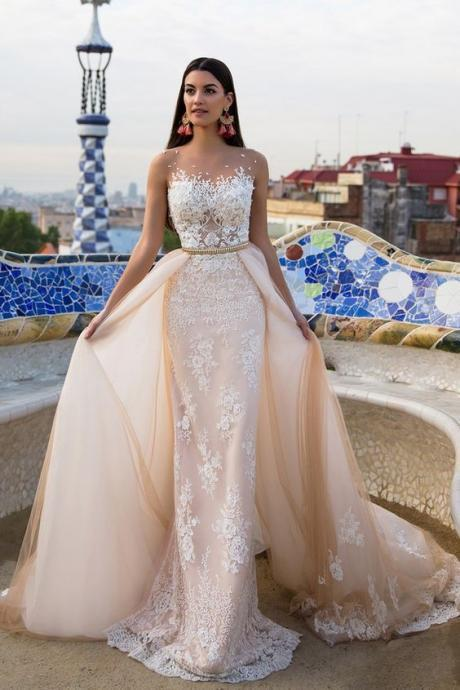 Elegant Wedding Dress Bride Gown,lace wedding dresses,champagne wedding dresses,modest wedding dresses