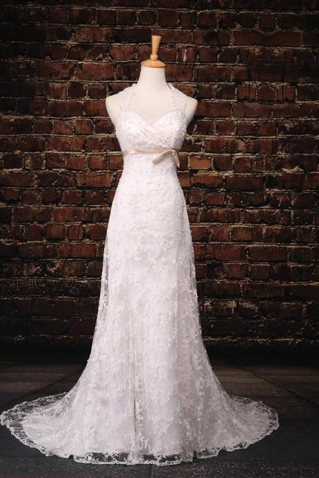 Simple A-line White Lace Wedding Dresses, Wedding Dresses,Wedding Gown,Lace Dress,Bridal Gown