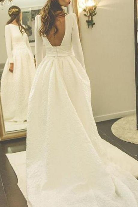 Decent Bateau Long Sleeves Court Train Pleated Wedding Dress