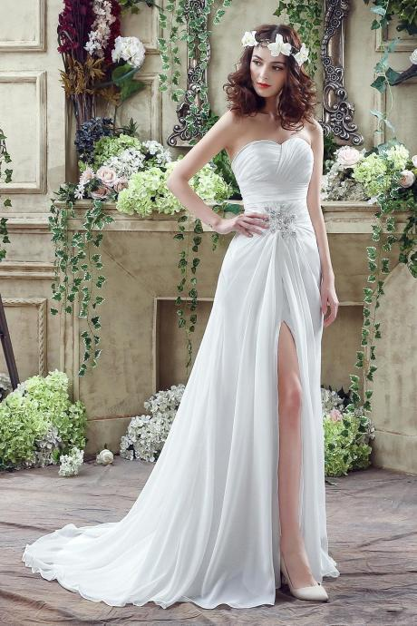 A-line Beach Wedding Dress,Chiffon Wedding Dress,Sweetheart Wedding Dress