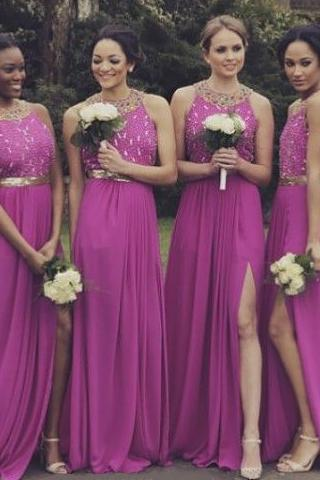 Fuchsia Bridesmaid Dress with Crystal Beaded Bodice, Open Back Bridesmaid Dress with Sexy Side Slit, Cheap A-line Dresses for Bridesmaids,