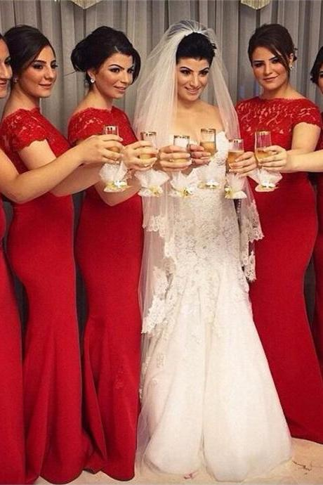Red Long Bridesmaid dresses short sleeves Scoop Cheap Lace Maid of honor dress Custom made Elegant Wedding party gowns 2017 plus size bridesmaid dresses