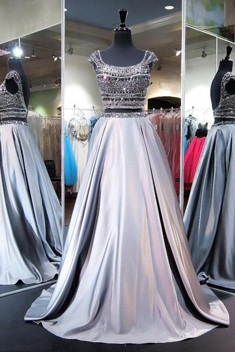 Princess Scoop Neck Satin Sweep Train Beading Two Piece Backless Boutique Prom Dresses