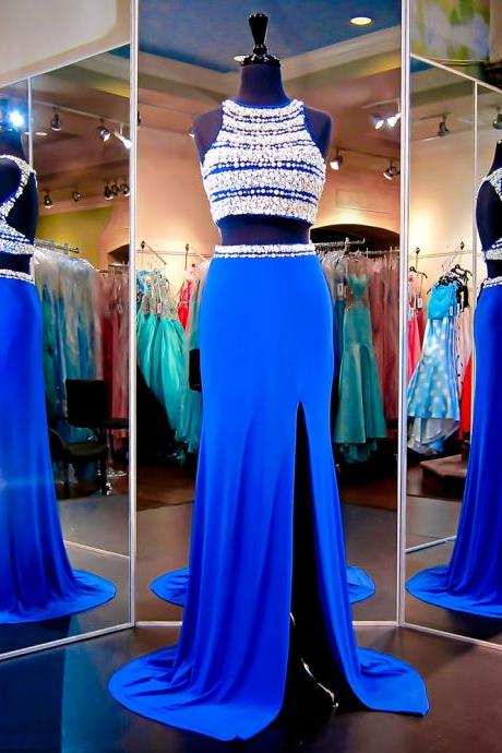 Sparkling Jewel Neck Crystal Pearl Tulle Prom Dress, Royal Blue Long Chiffon Front Split Prom Dress, Two Piece Open Back Long Prom Dress,