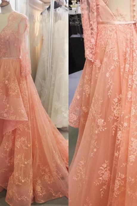 Evening Dresses, Prom Dresses,Party Dresses,New Arrival Prom Dress,Modest Prom Dress,coral prom dresses,lace prom dresses,long sleeves prom dresses,formal evening gowns,elegant prom dress 2017