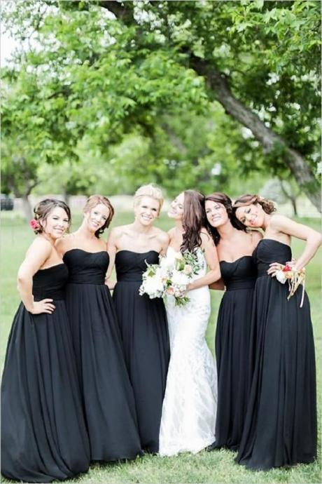 Simple Bridesmaid Dresses,Black Bridesmaid Dresses,Sweetheart Bridesmaid Dresses,Cheap Bridesmaid Dresses,High Low Long Bridesmaids Dresses For Wedding