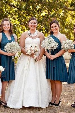 Custom Made Navy Blue Knee Length Mismatched Chiffon Guest Wedding Dress, Bridesmaid Dress