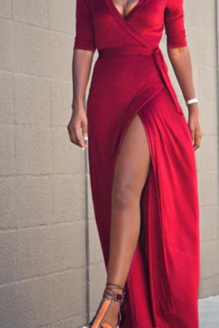 Middle Sleeve Prom Dress,Red Prom Dress,Split Prom Dress,Fashion Prom Dress,Sexy Party Dress, New Style Evening Dress