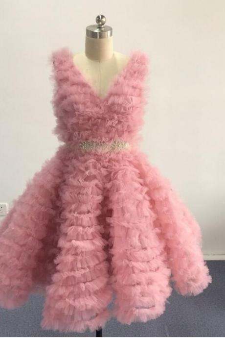 Fashion Short Party Dress,Blush Pink Prom Dress,V Neck Pleated Sleeveless Women Formal Party Dress, Tulle Cocktail Dresses,Beaded Sashes Party Gowns