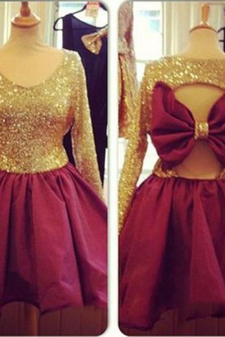 Sequins Prom Dress,Bowknot Prom Dress,Long Sleeve Prom Dress,Fashion Homecoming Dress,Sexy Party Dress, New Style Evening Dress