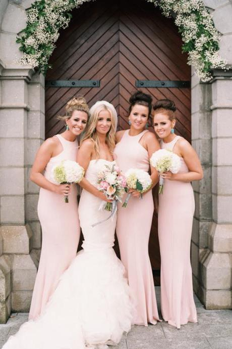 Blush Pink Bridesmaid Dresses, High Neck Bridesmaids Dress, Long Bridesmaid Dress, Simple Bridesmaid Dresses, Floor Length Dress for Bridesmaids, Wedding Party Dresses