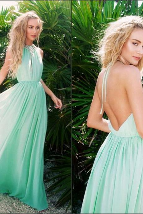 New Bridesmaids Dresses A Line Mint Halter Sleeveless High Neck Crystal Sequins Vestidos De Novia Backless Evening Dress