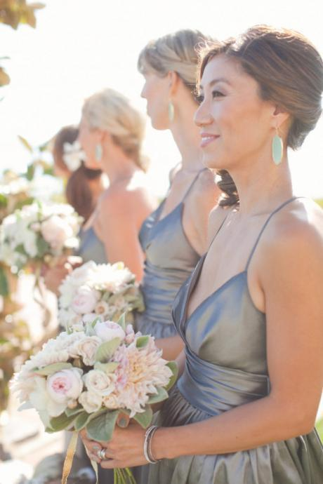 Long V Neck Gray Bridesmaid Dresses