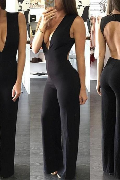 Black Plunge V Sleeveless Jumpsuit Featuring Open Back